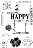 Woodware - Birthday Grid - Clear Magic Stamp Set - JGS586